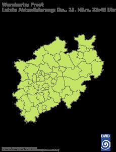 Unwetterwarnung Frost in Nordrhein-Westfalen
