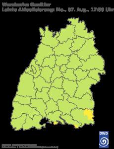 Unwetterwarnung für Gewitter in Baden-Wuerttemberg