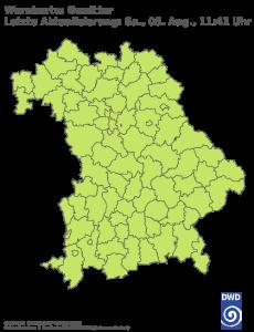 Unwetterwarnung für Gewitter in Bayern