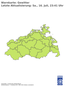 Unwetterwarnung für Gewitter in Mecklenburg-Vorpommern
