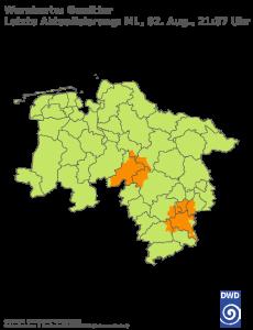Unwetterwarnung Gewitter in Niedersachsen-Bremen