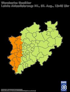 Unwetterwarnung für Gewitter in Nordrhein-Westfalen