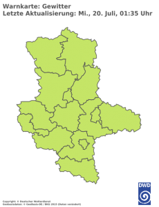 Unwetterwarnung für Gewitter in Sachsen-Anhalt