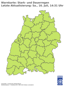 Unwetterwarnung für Regen in Baden-Wuerttemberg