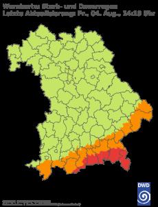 Unwetterwarnung für Regen in Bayern