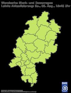Unwetterwarnung für Regen in Hessen