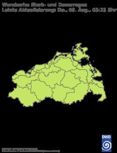 Unwetterwarnung für Regen in Mecklenburg-Vorpommern