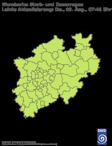 Unwetterwarnung für Regen in Nordrhein-Westfalen