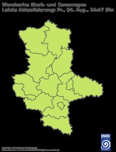 Unwetterwarnung für Regen in Sachsen-Anhalt