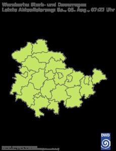 Unwetterwarnung für Regen in Thueringen