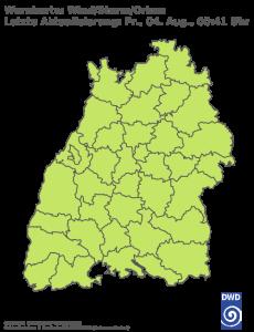 Unwetterwarnung für Sturm in Baden-Wuerttemberg