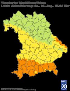 Unwetterwarnung für Sturm in Bayern