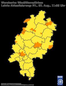 Unwetterwarnung für Sturm in Hessen