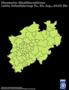 Unwetterwarnung für Sturm in Nordrhein-Westfalen