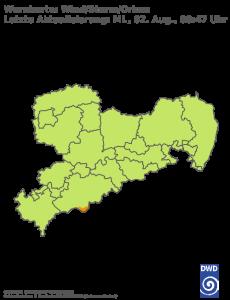 Unwetterwarnung für Sturm in Sachsen
