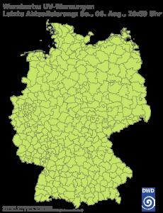 Unwetterwarnung UV Strahlung in Deutschland